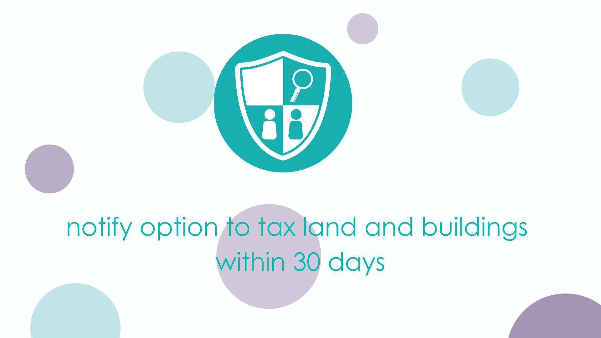 notify option to tax land and buildings within 30 days